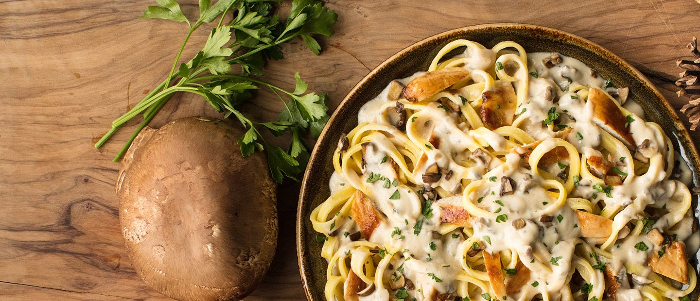 Fettuccine with roasted chicken and portobello mushroom sauce