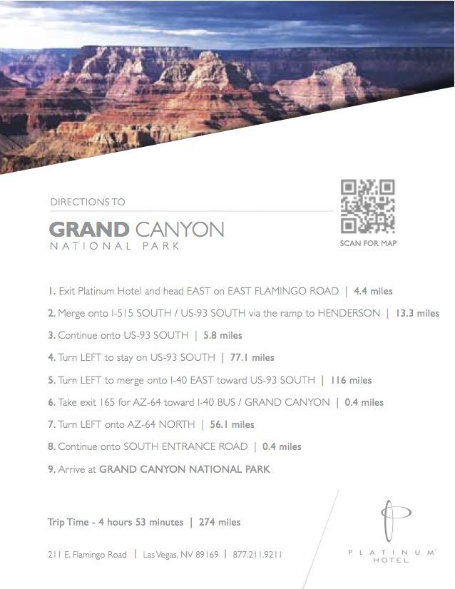 Directions To Grand Canyon National Park From Platinum Hotel Spa Grand Canyon National Park Platinum Hotel National Parks