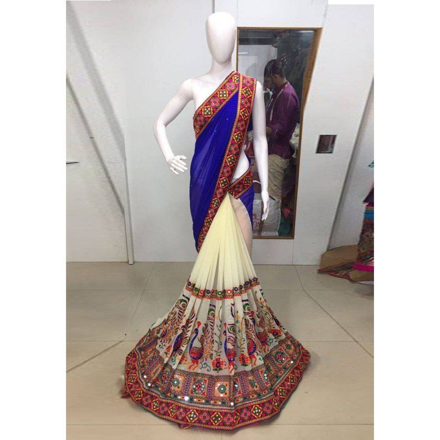 Latest Kachhi Blue Color Pure Embroidery With Real Mirror Work Saree at just Rs.1350/- on www.vendorvilla.com. Cash on Delivery, Easy Returns, Lowest Price