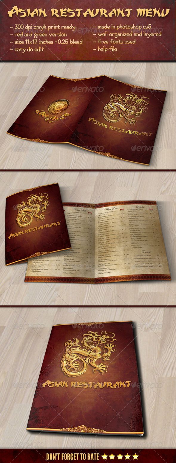1000 images about Restaurant Food Menu Graphic Designs on – Restaurant Brochure Template