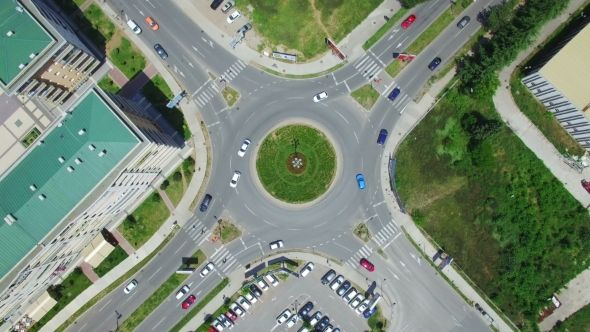 Aerial View Of Roundabout In Podgorica City Montenegro Aerial View Podgorica Montenegro