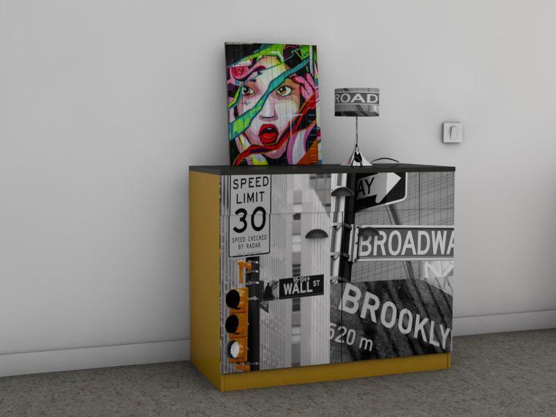 meuble deco newyork jaune EIRL