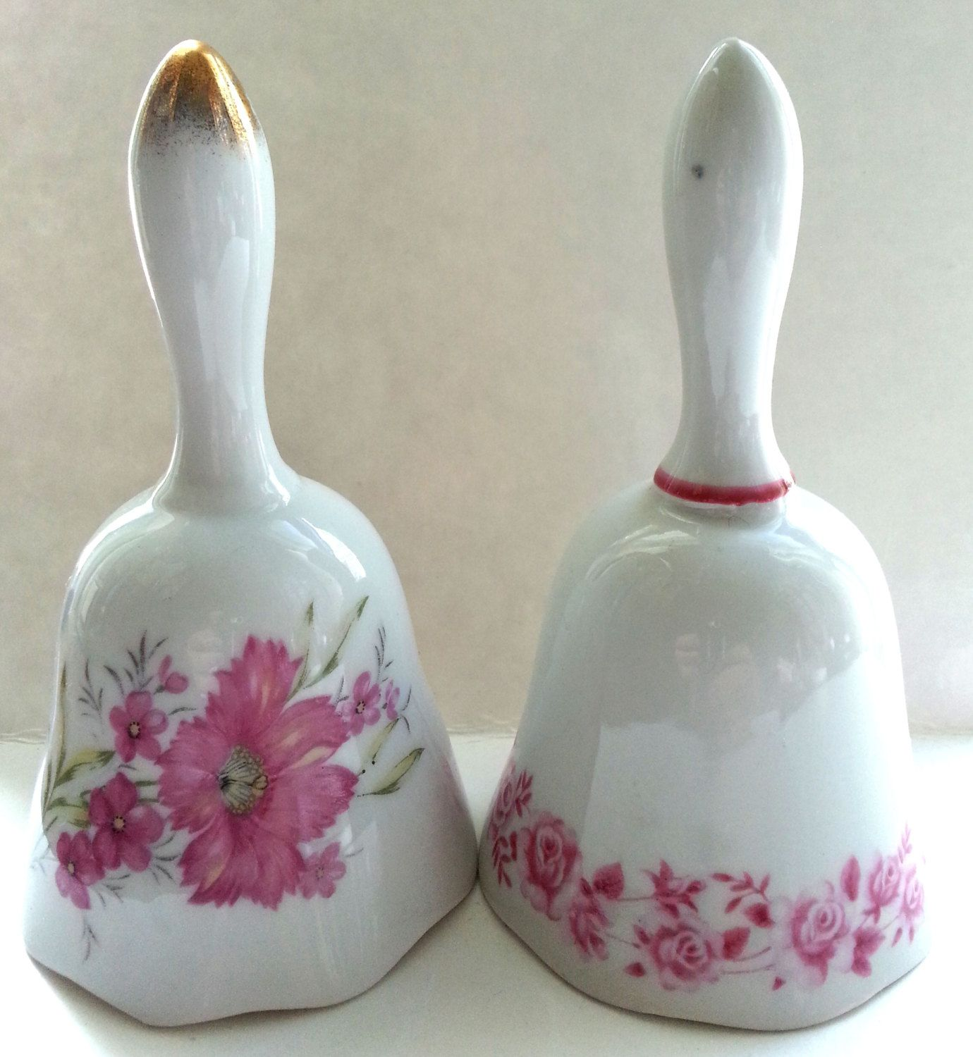 2 Pink Floral Porcelain Bells, Mikasa China, Made in Japan by Snowyowltreasures on Etsy