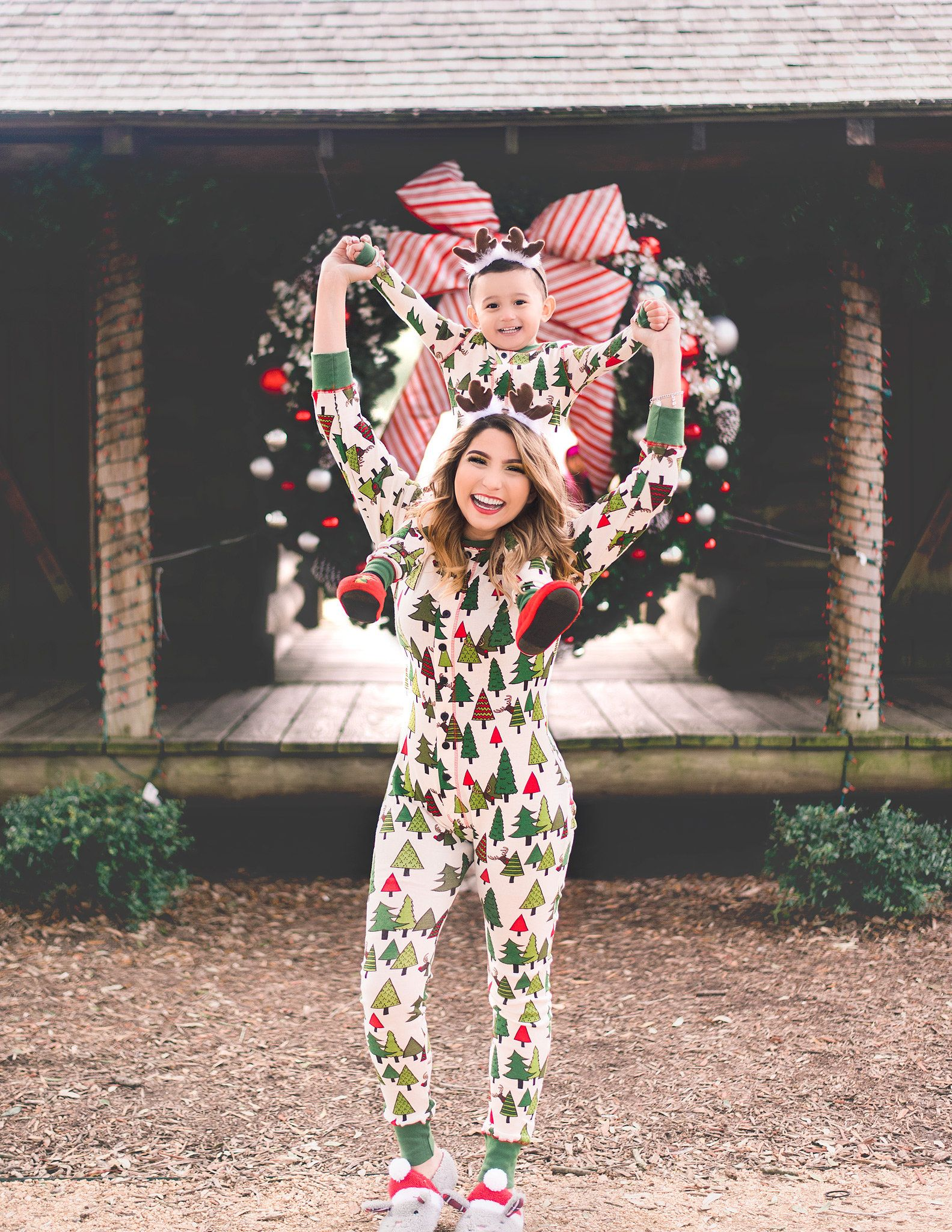 Christmas Pajamas Photoshoot.Lazy One Pajamas Mother And Son Photoshoot Christmas Ideas