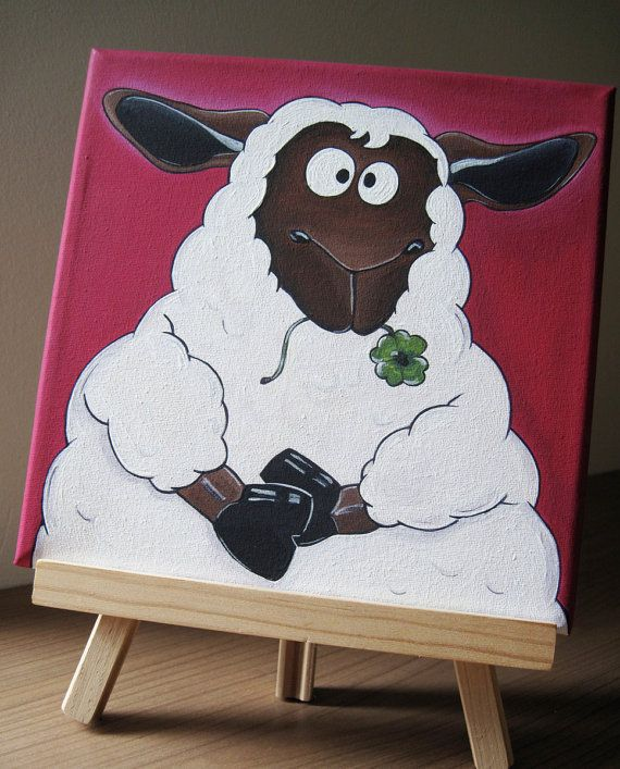 original painting on stretched canvas quilton the sheep. Black Bedroom Furniture Sets. Home Design Ideas