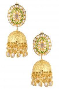 Gold Finish Green Thewa Big Jhumki Drop Earrings