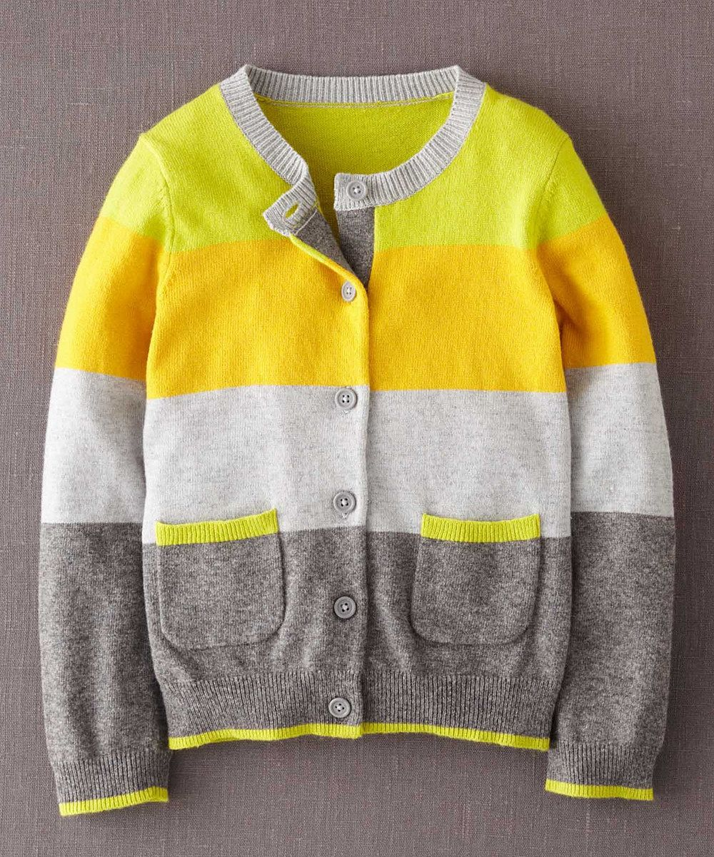 465db03d9 Yellow Stripe Cardigan by Mini Boden. This has pink elbow patches ...
