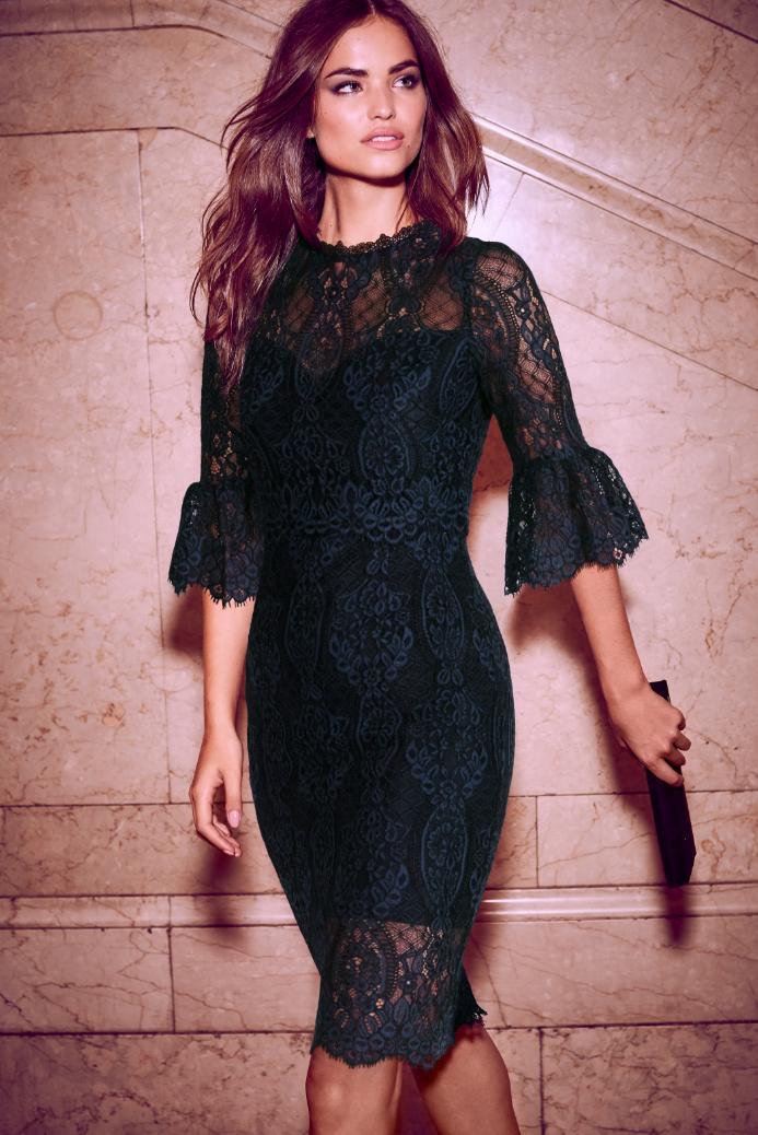 dc2e22e1b05 Lipsy VIP 3 4 Sleeve Lace Midi Dress