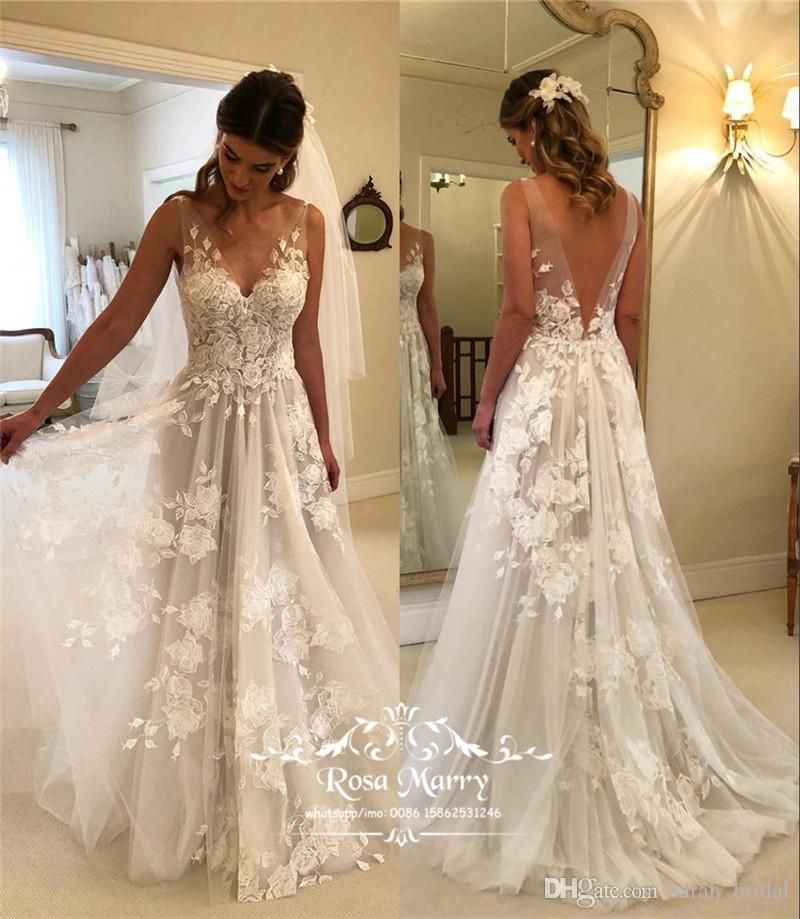 Plus Size Country Beach Cheap Wedding Dresses 2018 A Line V Neck Vintage Lace Backless Gree Backless Bridal Gowns Boho Bridal Gowns Boho Wedding Dress Backless