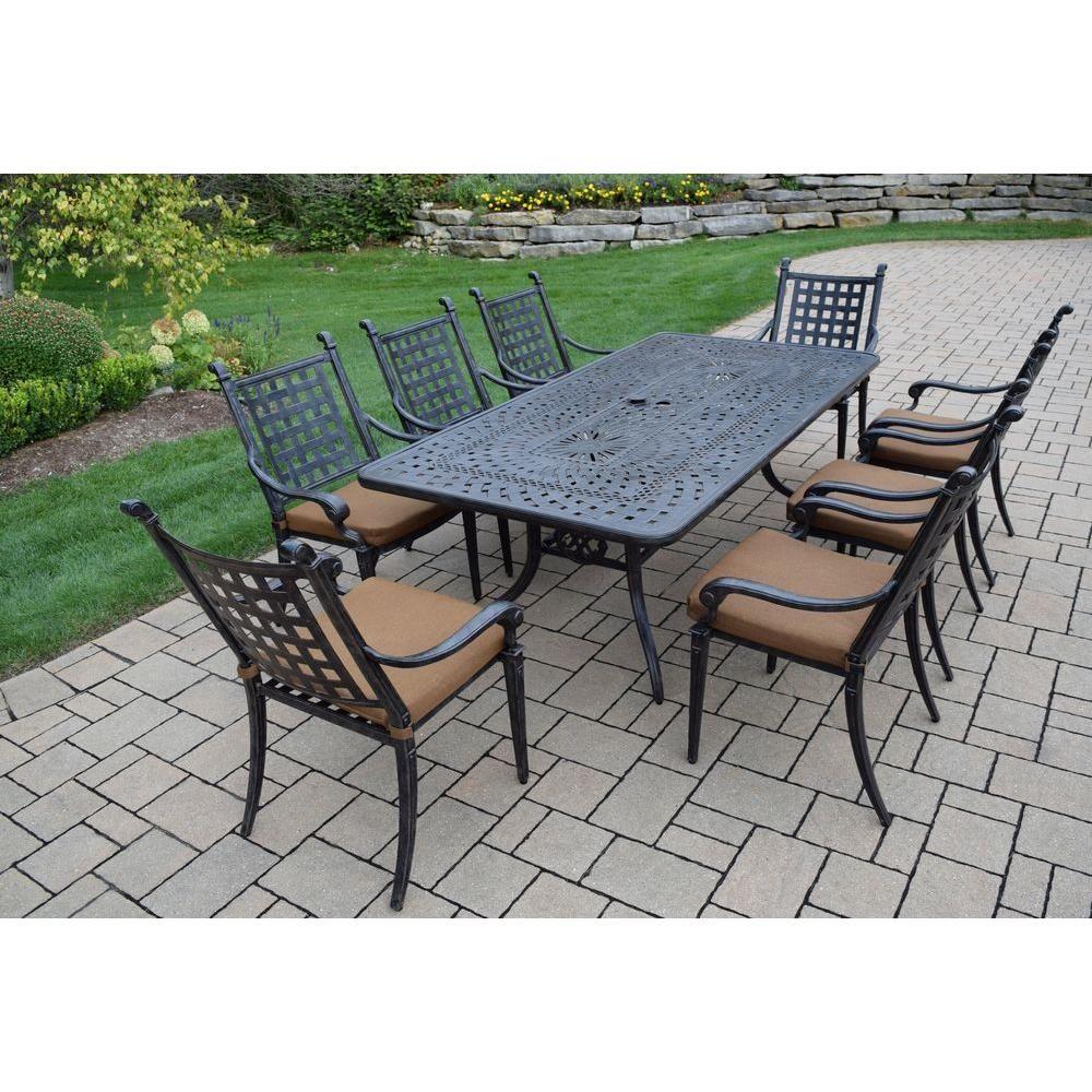 rectangular dining with darlee sedona ultimate brown patio cast tile aluminum mocha granite set table top piece