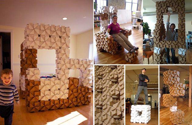 reciclar cartn ideas para decorar una casa