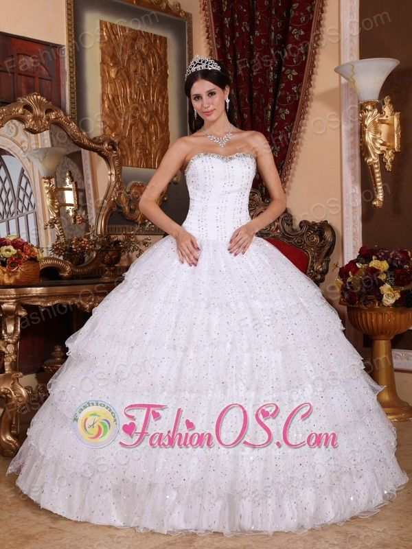 Discount White Quinceanera Dress Strapless Taffeta and Tulle Beading Ball Gown