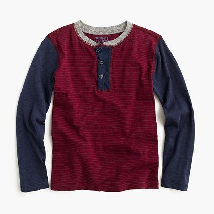 Boys' colorblock cotton henley : henleys   J.Crew