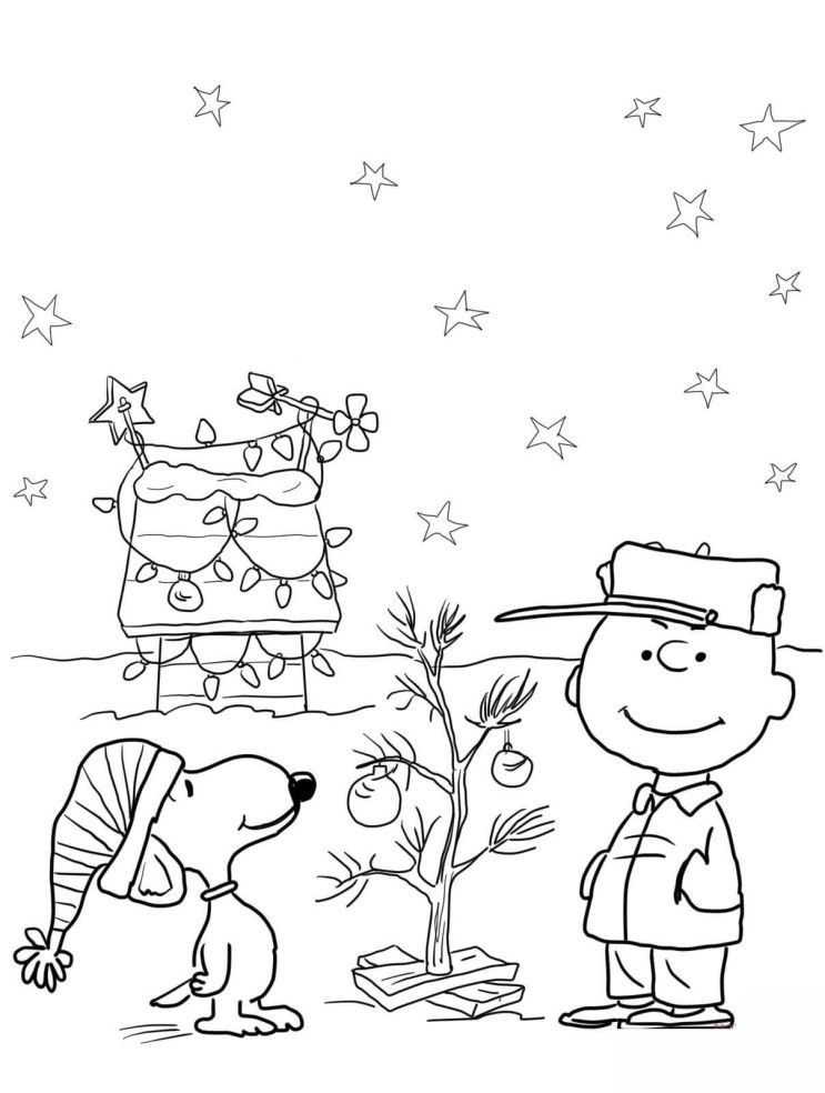 charlie brown christmas coloring pages  free christmas