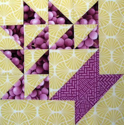 Grape Basket - The Farmers Daughter Quilt: great use of fruit prints!