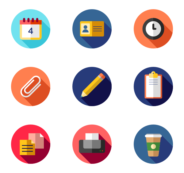 Flat Circular Icon Style Flat 35 486 Vector Icons Available In Svg Eps Png Psd Files And Icon Font Icon Business Icon Stationery