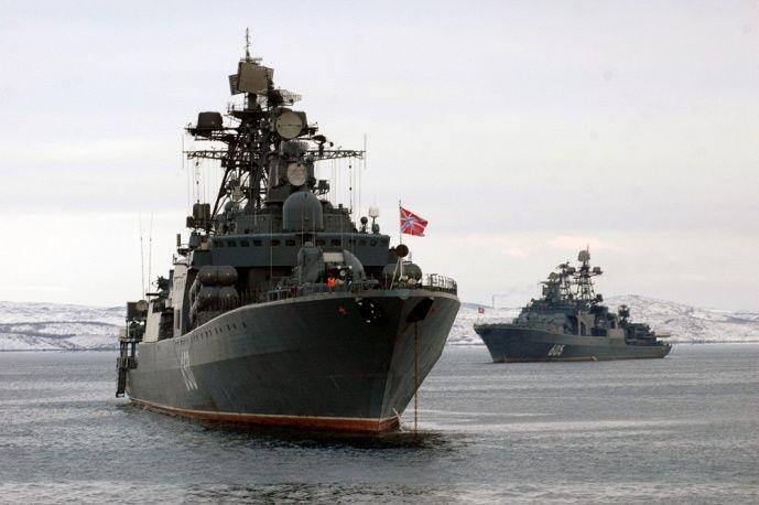 Russian Udaloy-class anti-submarine destroyer Admiral Chabanenko and destroyer Admiral Levchenko