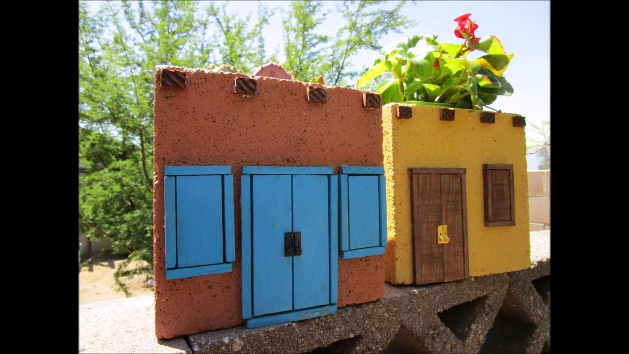 Mexican Adobe Style House Planter (using a cinder block