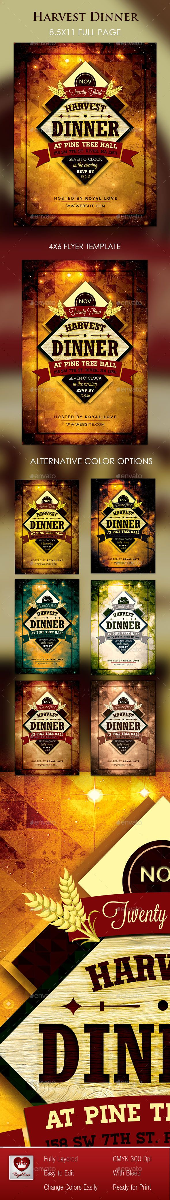 Harvest Dinner Flyer  Flyer Template Template And Event Flyers
