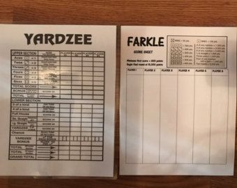 Printable Yardzee Score Card Yardzee Board Lawn Yahtzee Score