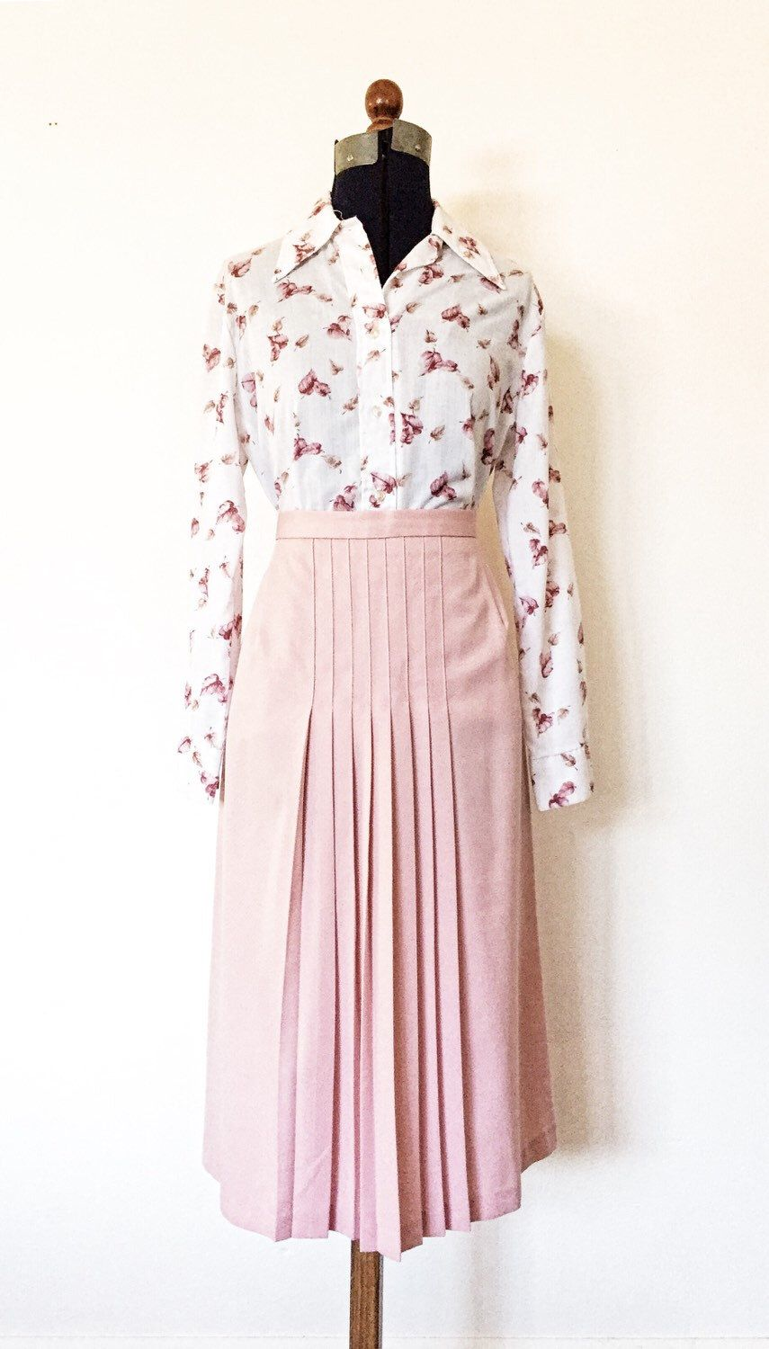 S pink front pleats skirt by callieannavintage on etsy