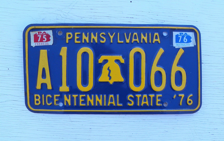 Vintage 1976 pennsylvania bicentennial state car license