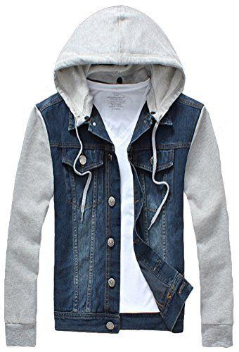 0bcfd72906d8 Mright Men's Autumn Casual Oversize Denim Detachable Hooded Jacket(Dark blue,US  XL)