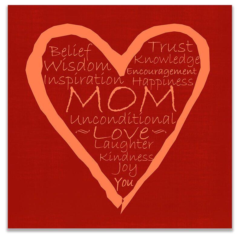 Mom Inspirational Word Art Heart Collage Print Wall Art