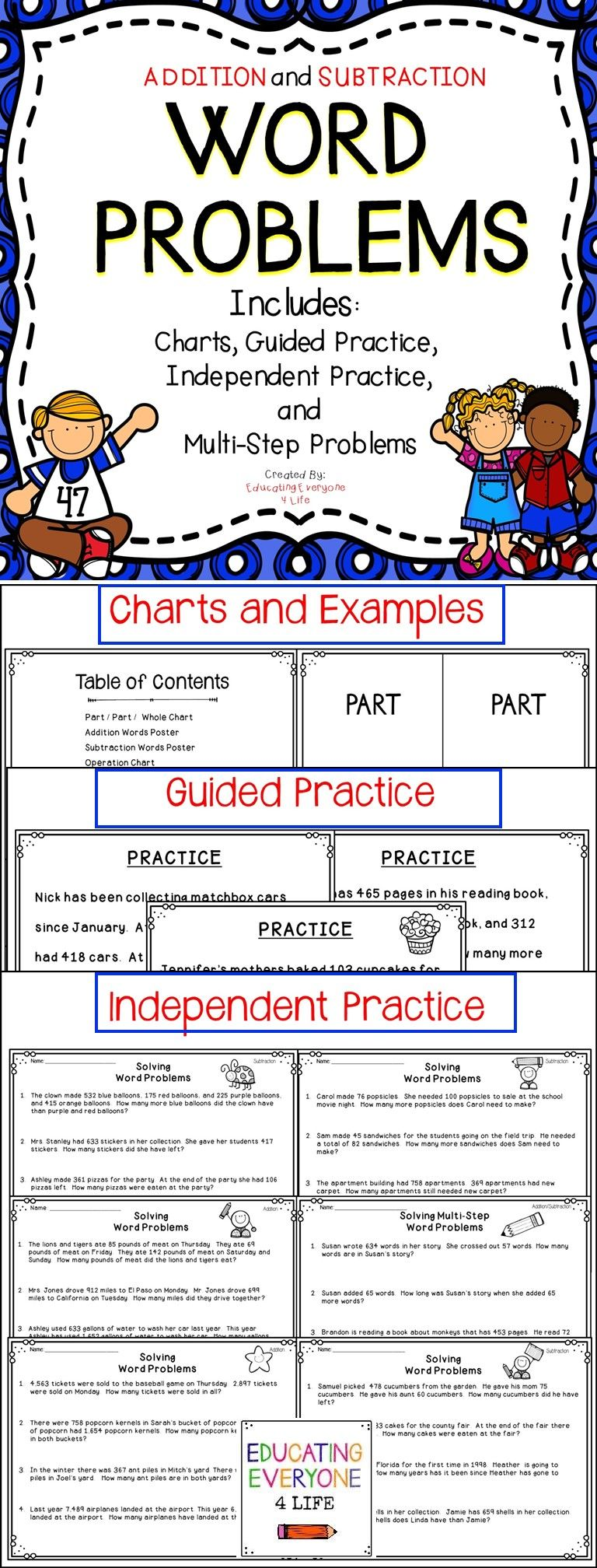 Teach Your Students All About Problem Solving With This Math Resource From Teachers Pay Teachers This Word Problems Subtraction Word Problems Guided Practice