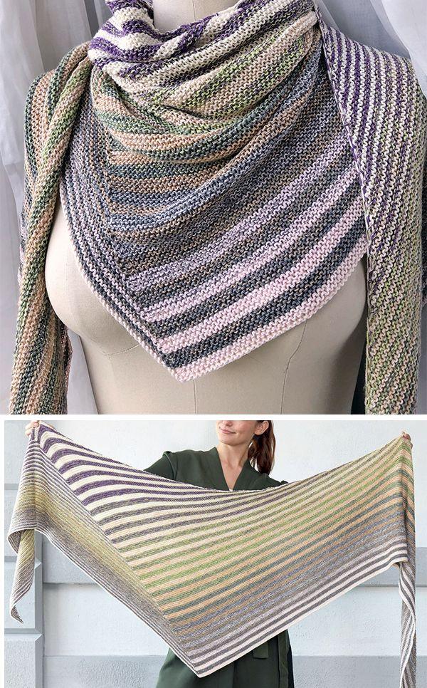 Free Knitting Pattern For Easy Shifting Stripes Shawl Asymmetric