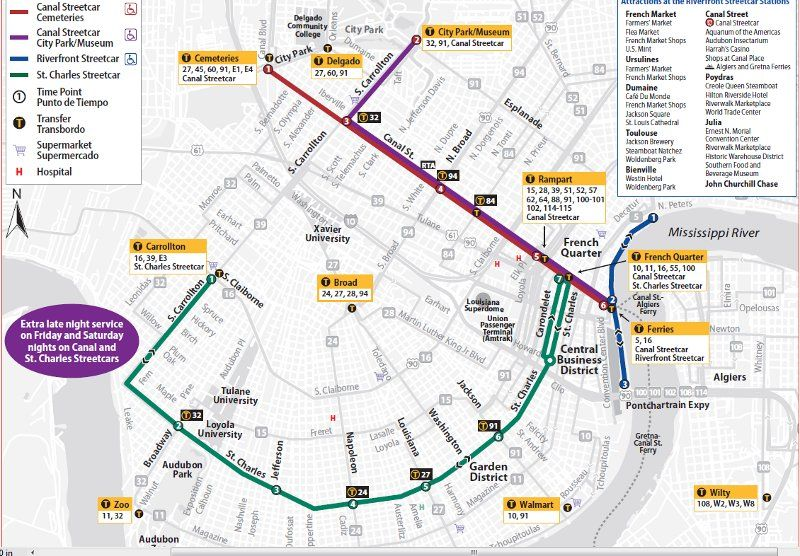 New Orleans Trolley Map map of all new orleans streetcars   Google Search | New Orleans in