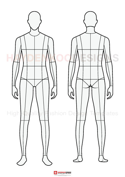 Body Template For Fashion Technical Drawings Female 6 Male 8 Heads