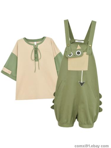 Japanese Kawaii Mori Girl Sweet Cute Dinosaur T-shirt Shorts Sleeve Summer Tops