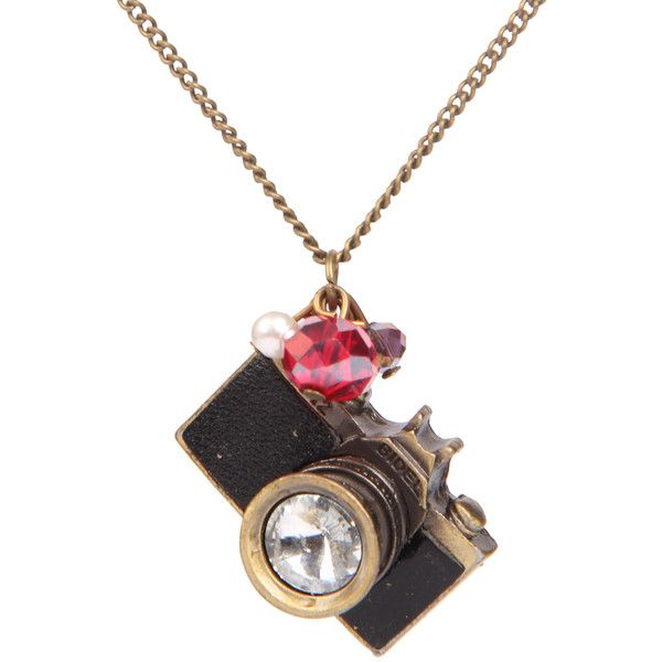 Gold Camera Chain Necklace ($11) ❤ liked on Polyvore