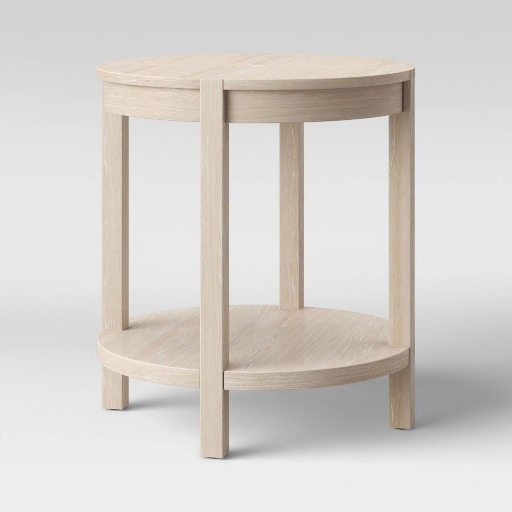 Porto Round Wood Accent Table Bleached Wood Project 62 Round Wood Accent Table Wood Accent Table Bleached Wood