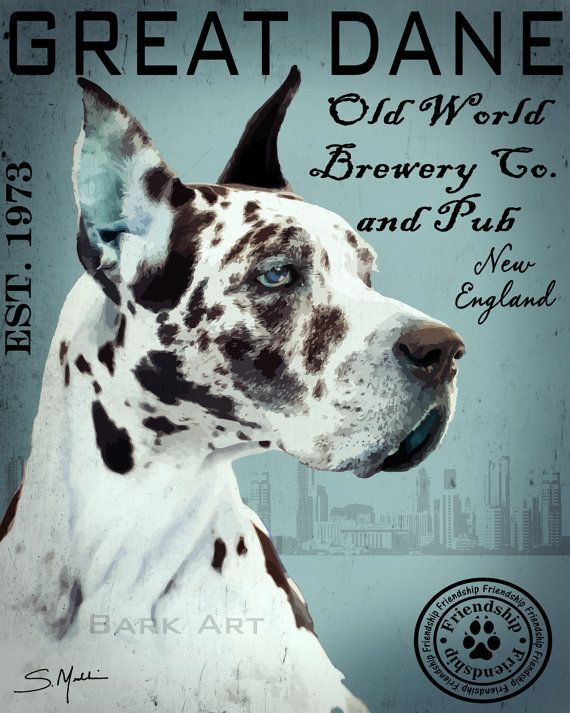 Harlequin Great Dane Art Old World Brewery Co England Print Or