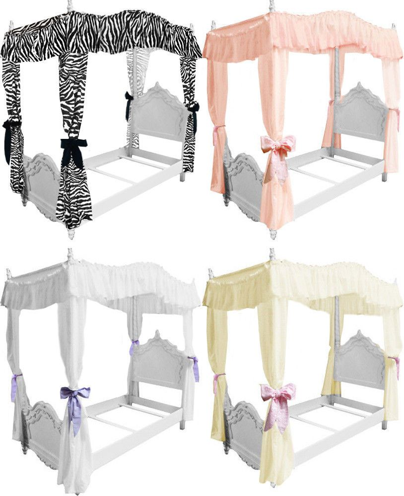 Fc38 girls twin size princess bed drape canopy curtains fabric top