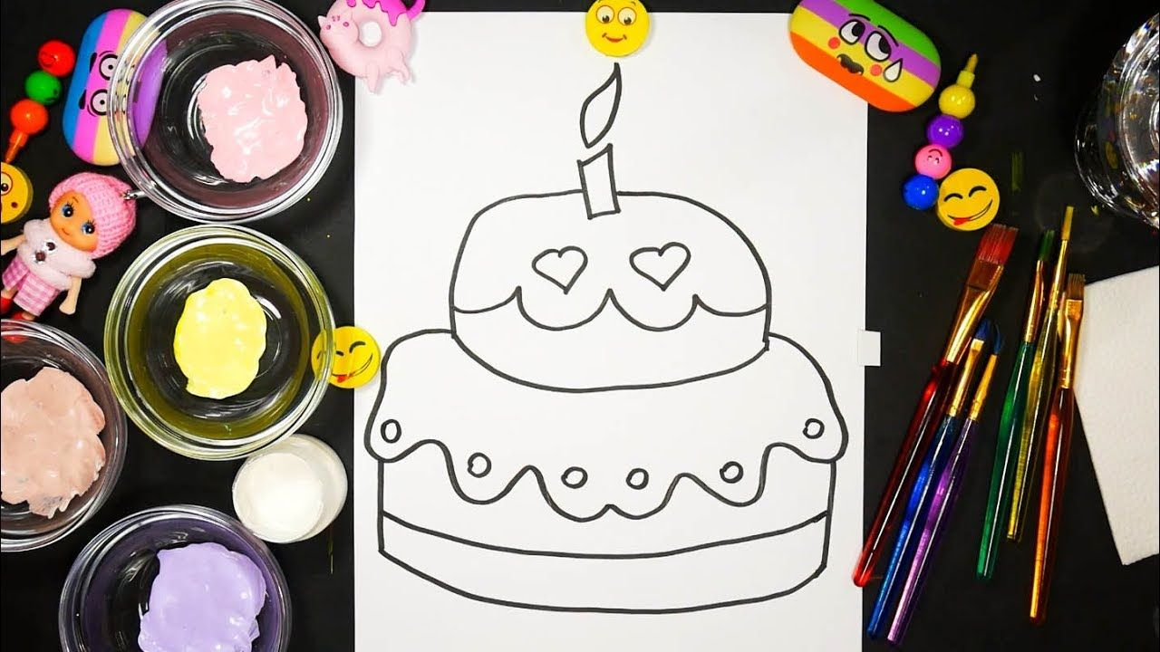 How to Draw Birthday Cake for Kids Coloring pages How to paint ...