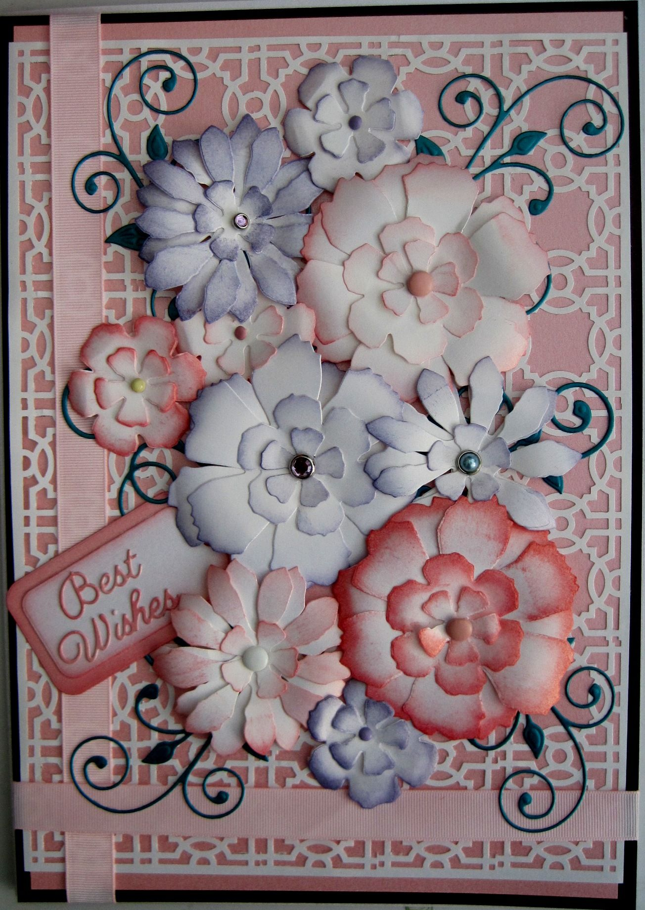 this is an a4 card i used the tim holtz tattered florals die by sizzix to create the flowers. Black Bedroom Furniture Sets. Home Design Ideas