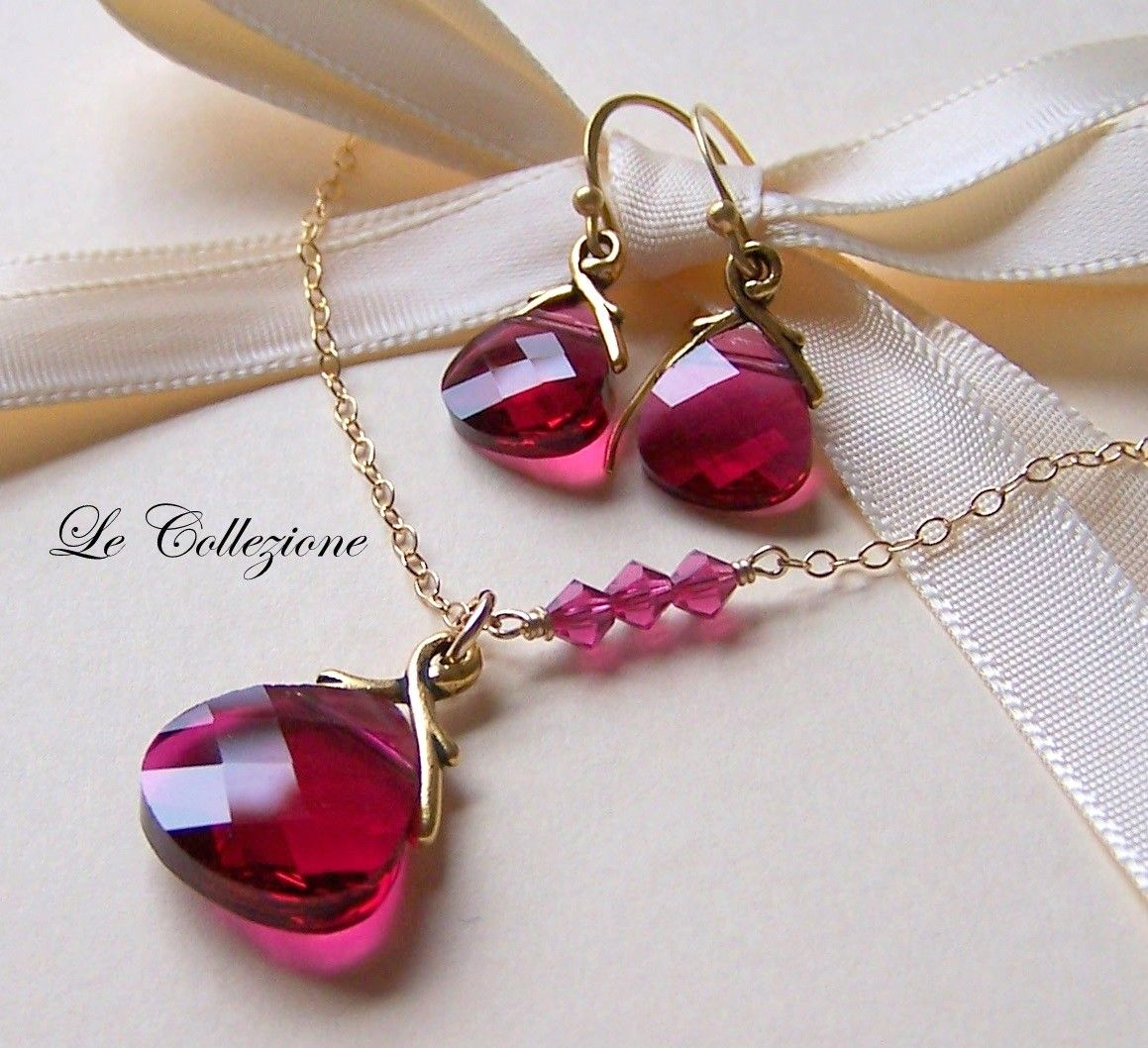 Brides Bridesmaids  Necklace And Earrings Set, Exquisite Ruby Swarovski  Crystal And 14k Gold Filled