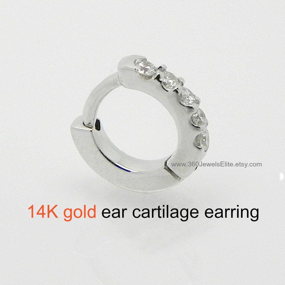 Tiny Gold Hoop Earring, Diamond Hoop Earring, Cartilage Earring, Helix Hoop  Earring, Gold Diamond Cartilage Earring, Mens Earring, E007dw