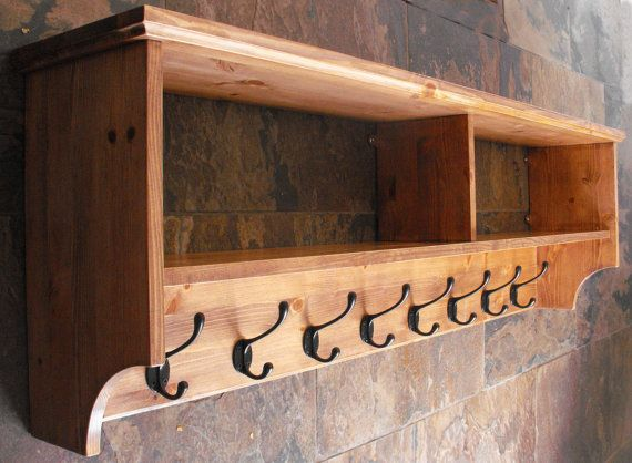 Wide Hat U0026 Coat Rack With Shelf. Wall Mounted Solid Wood Display Shelves  With Cast Iron Hooks For Hall Kitchen Bathroom Or Bedroom