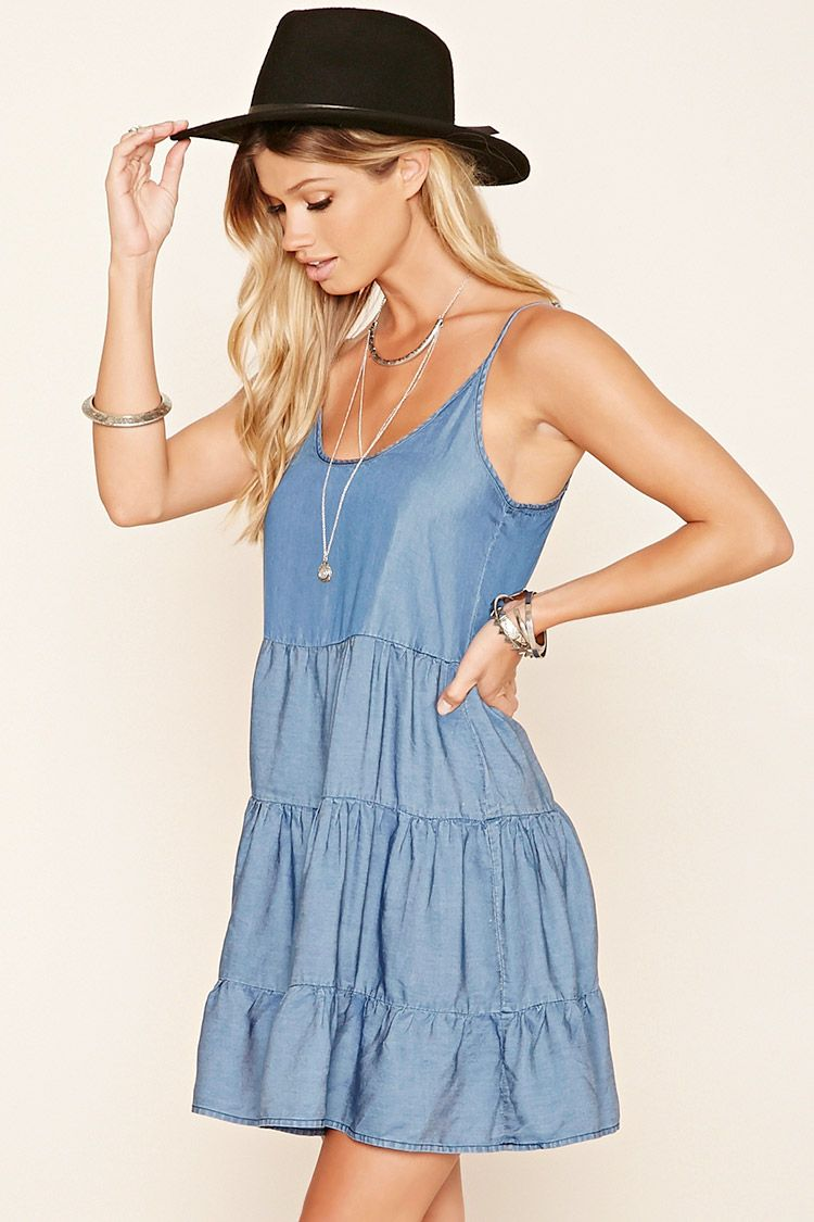 A Chambray Smock Dress Featuring A Scoop Neckline Cutout Back Adjustable Spaghetti Straps And Ruche Summer Dress Inspiration Summer Dresses Stunning Dresses [ 1125 x 750 Pixel ]