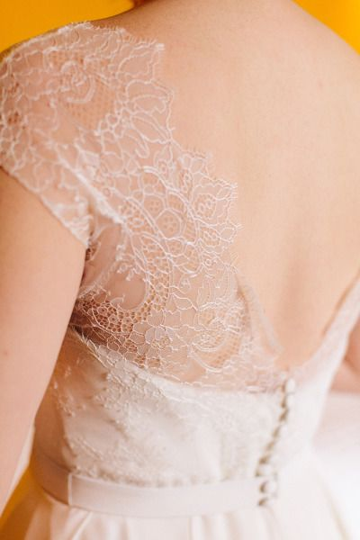 Deep V back wedding dress: http://www.stylemepretty.com/2014/11/12/virginia-fall-vineyard-wedding/ | Photography: Katie Stoops - http://katiestoops.com/