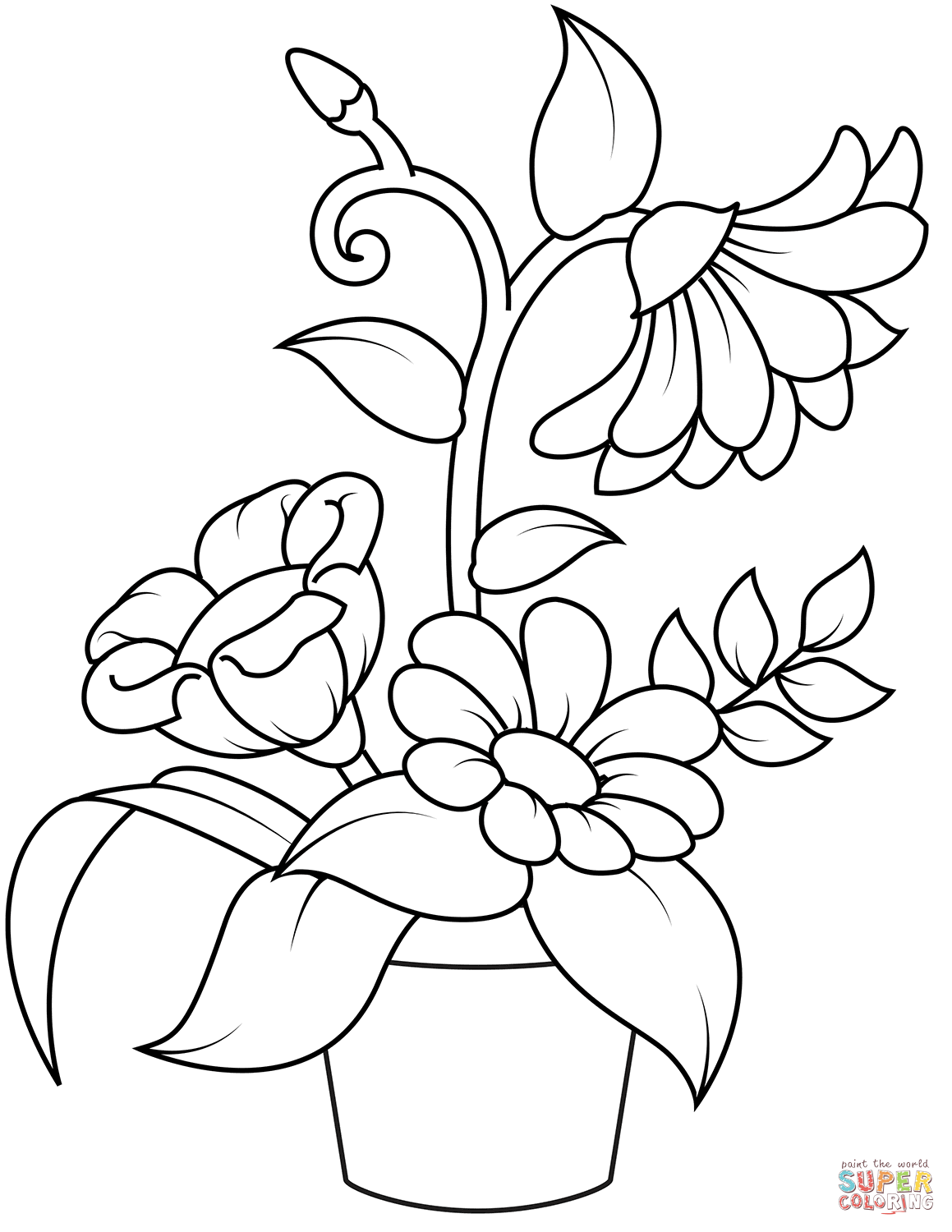 Flower Pots Coloring Pages  Flower coloring pages, Printable