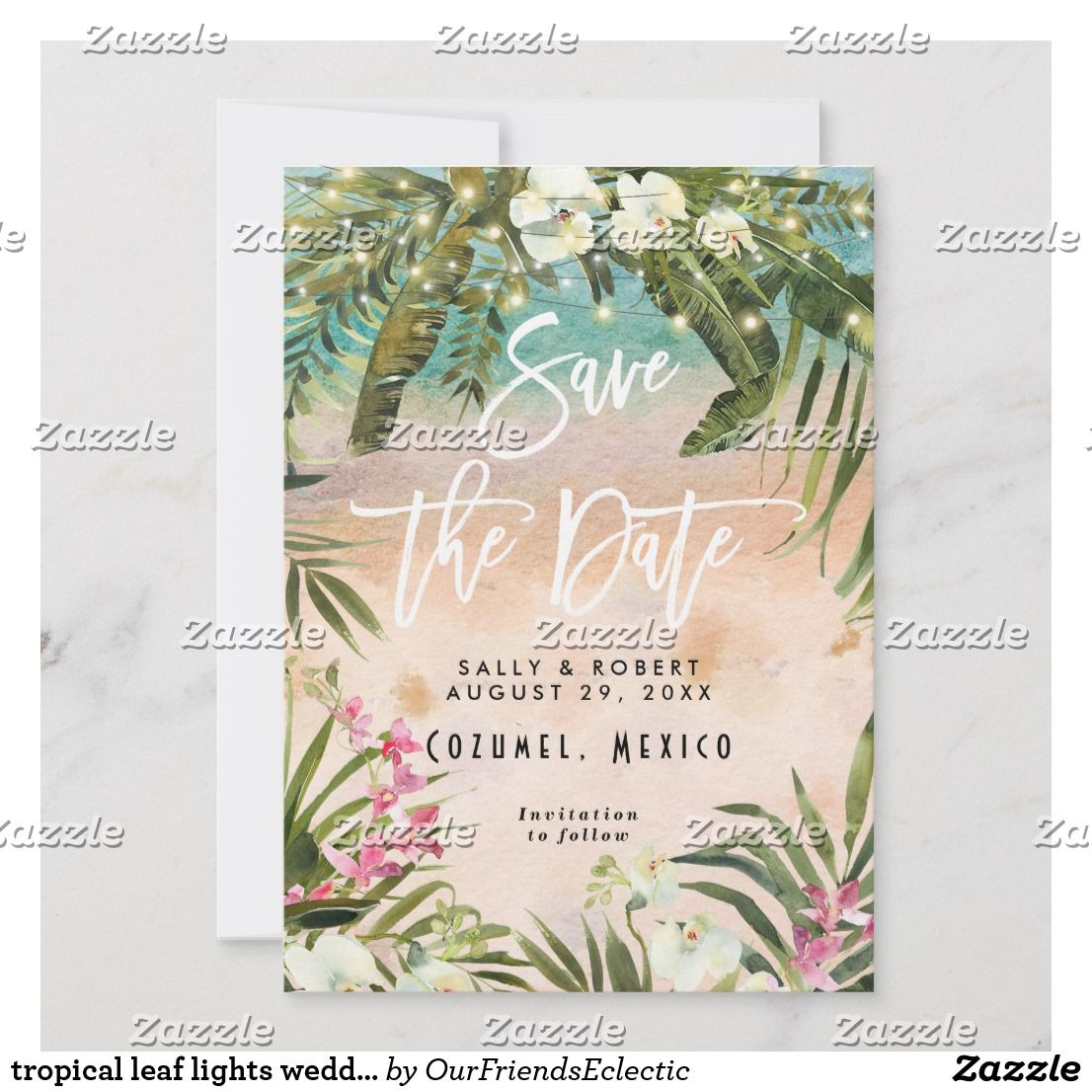 Tropical Leaf Lights Wedding Save The Date Card