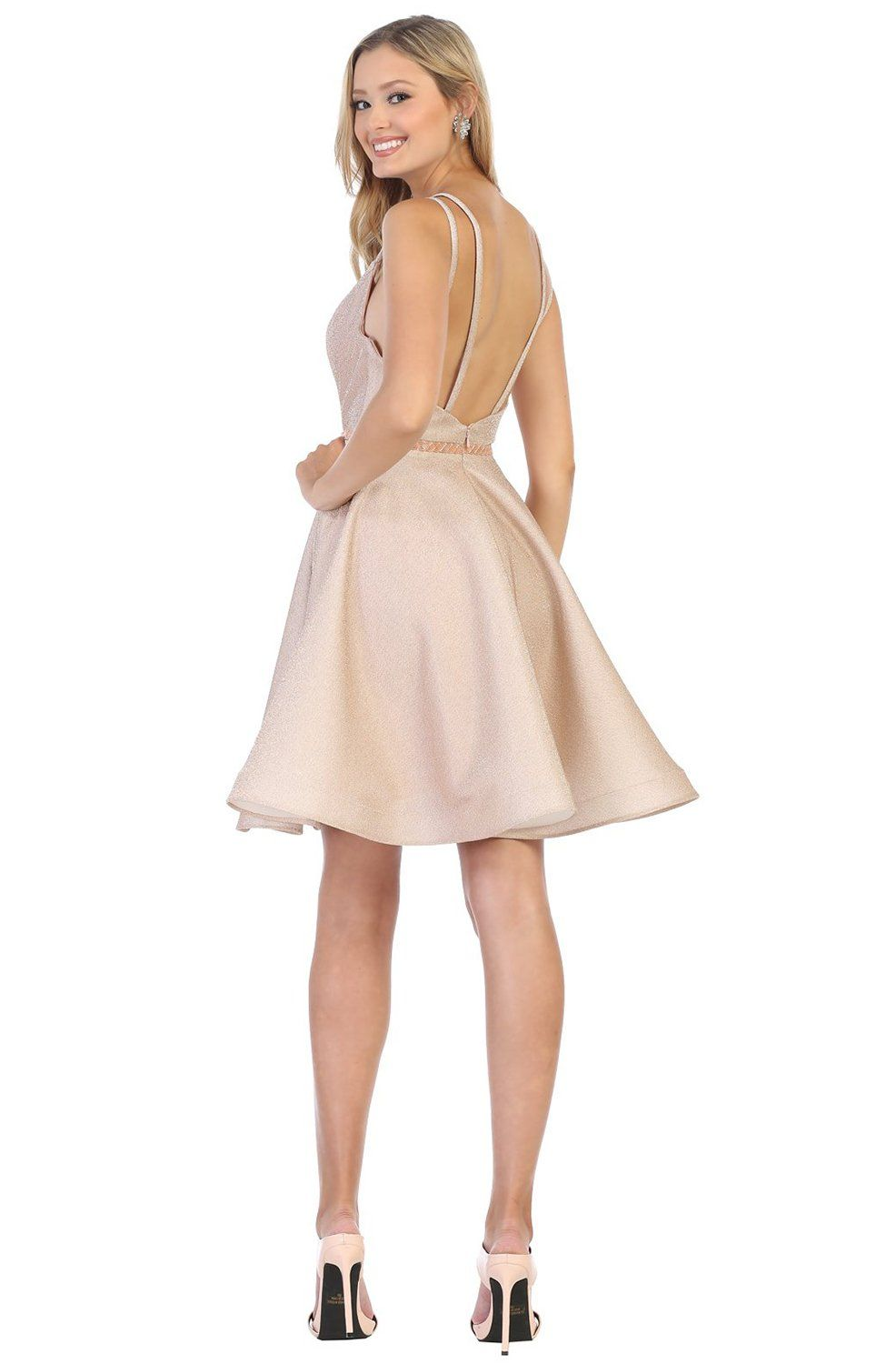 May Queen - MQ1697 Deep V-neck A-line Cocktail Dress #backlesscocktaildress