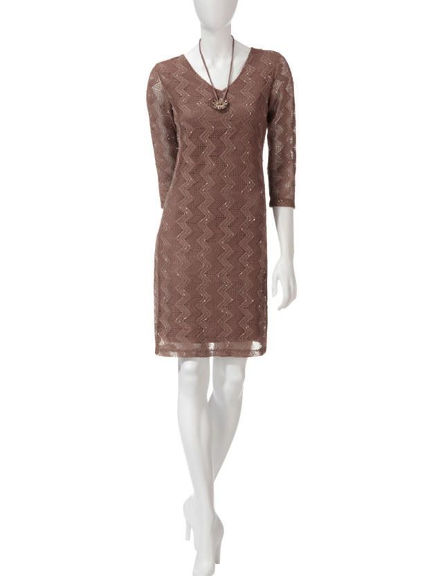 Lennie Coconut Button Crochet Dress | Stage Stores