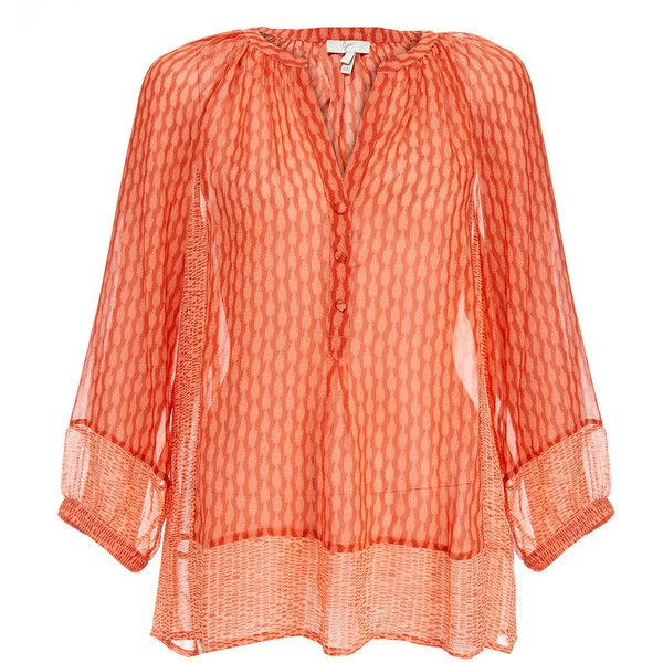 Joie Izzy B Orange Silk Printed Starfish Blouse ($145) ❤ liked on Polyvore featuring tops, blouses, orange, three quarter sleeve blouses, 3/4 sleeve tops, orange blouse, orange top and joie tops
