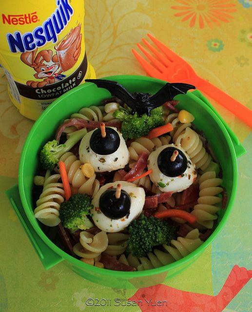 Halloween Pasta Salad with Mozzarella Eyeballs by SusanYuen, via Flickr